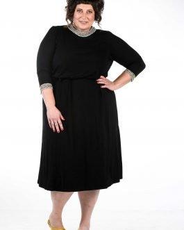 שמלת ערב קלאסית שחורה מידות גדולות -