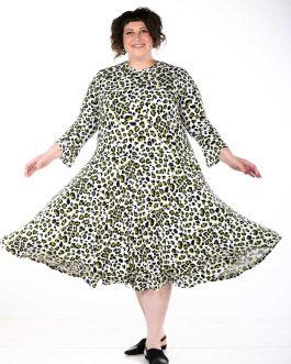 שמלה לבנה מנומרת מידות גדולות דגם