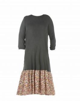 שמלה בשילוב פרחוני מידה גדולה צנועה - דגם