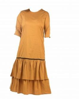 שמלת קומות צבע חרדל מידות גדולות - דגם