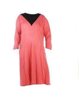 שמלת יום יום ורודה וצנועה מידות גדולות - דגם