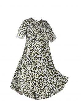 שמלה לבנה מנומרת צנועה מידות גדולות - דגם